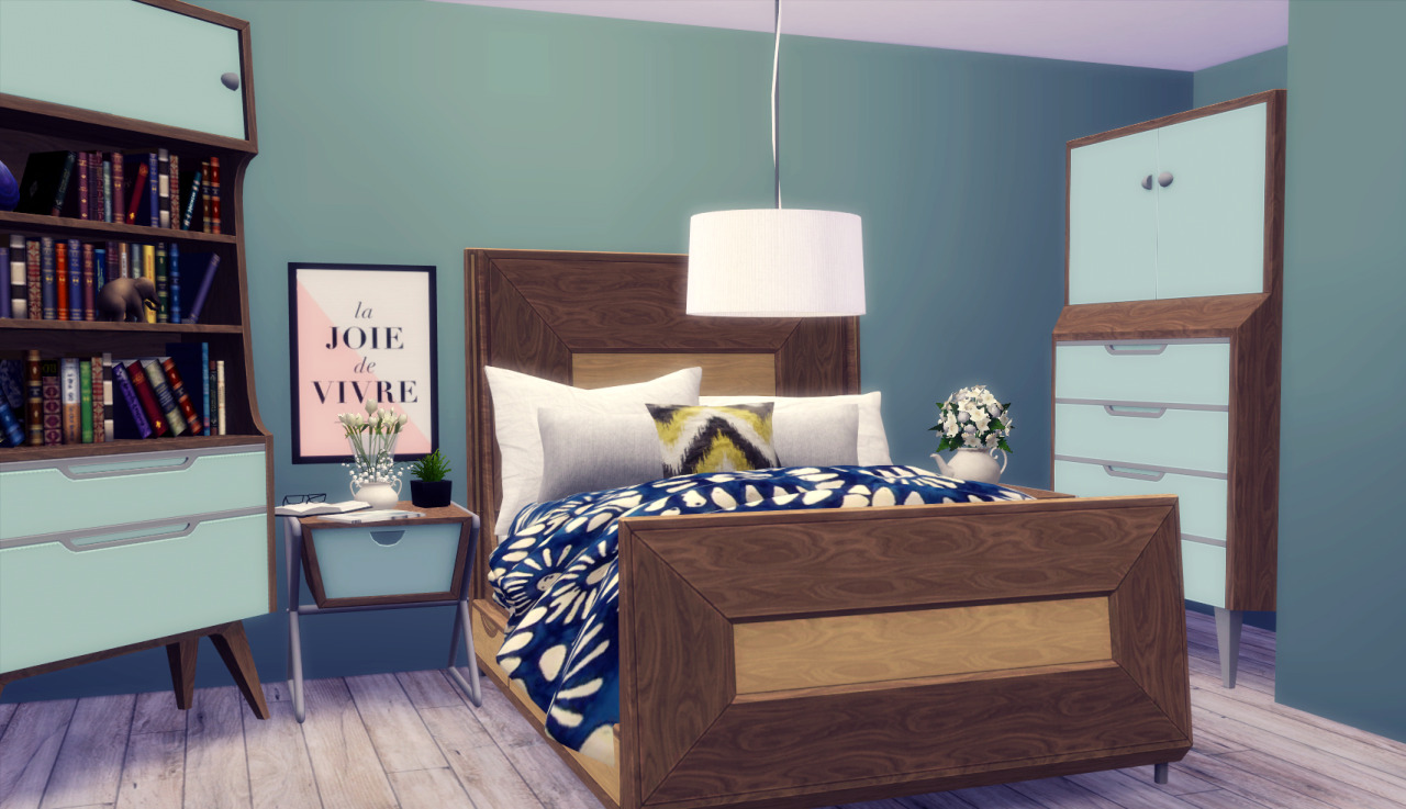 my sims 4 blog: awesims midmod bedroom and bathroom conversion