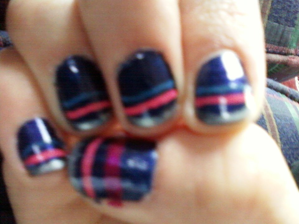Abby\'s Nail Designs: Navy blue with Stripes