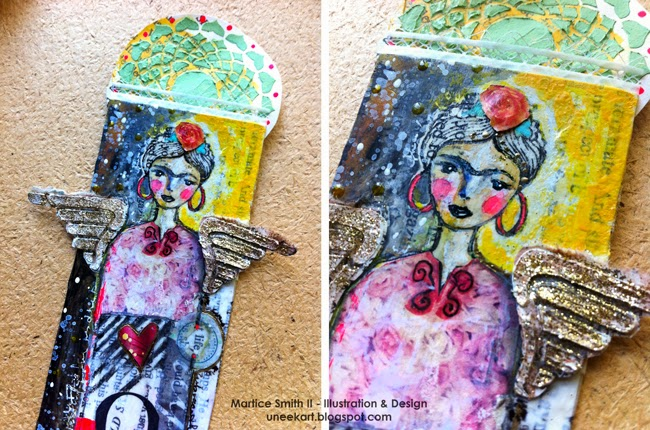 Whimsical Bookmarks, Frida detail; tutorial by artist Martice Smith II