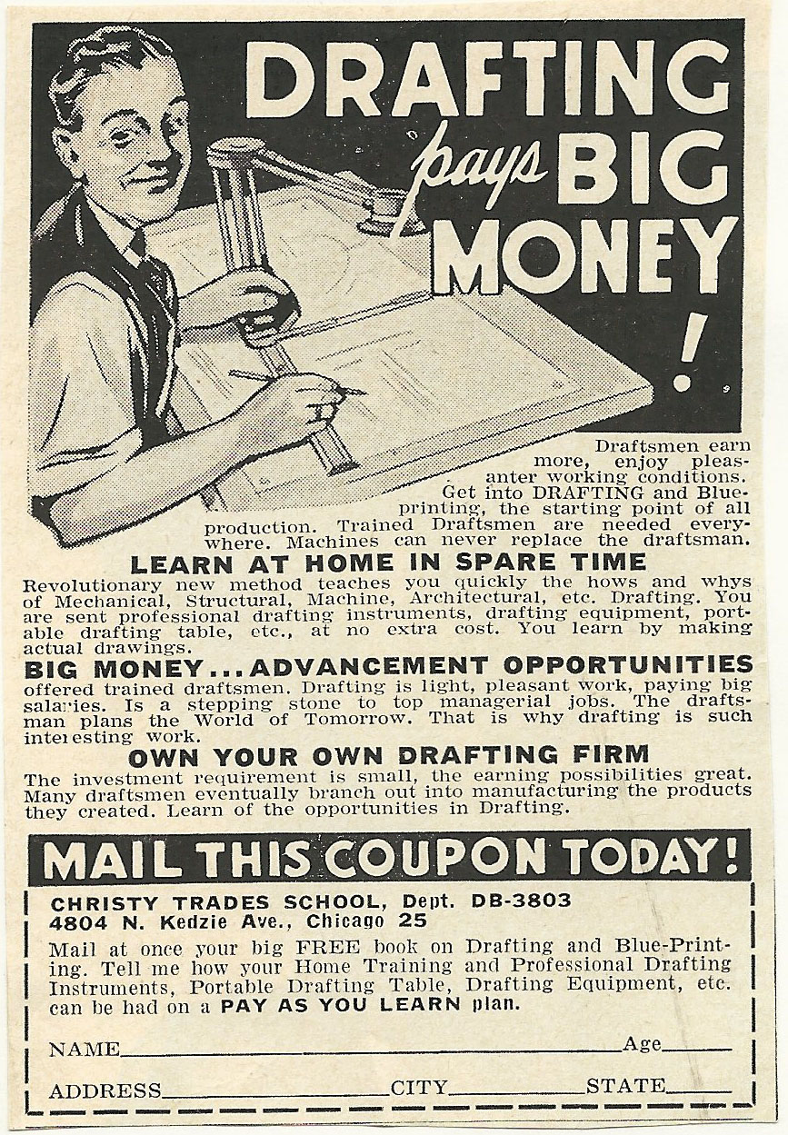 Old Ads Are Funny 1950s Ad Drafting School