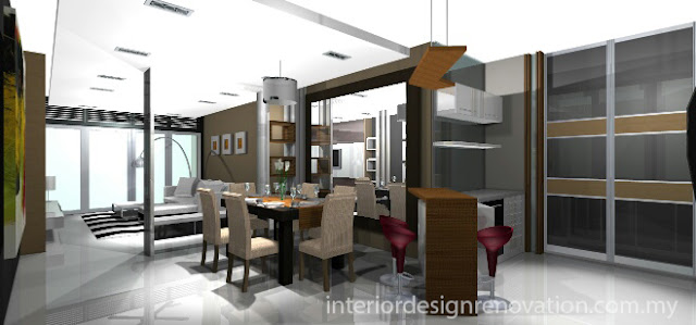 3D Drawing for Dining area Interior design with consultation-  Salak South Condominium - Kuala lumpur