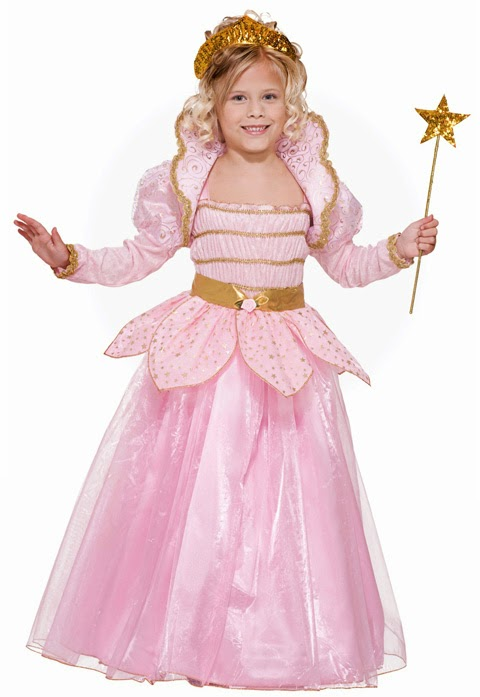 Little blond girl in pink princess costume