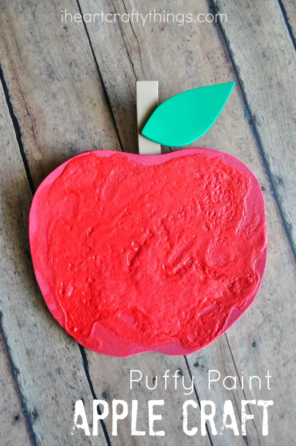 puffy paint apple craft for kids - Things For Kids To Paint