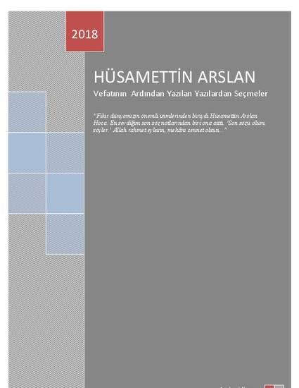 Prof. Dr. Hüsamettin Arslan: Vefatının Ardından Yazılan Yazılardan Seçmeler