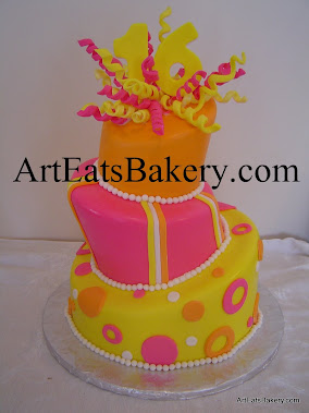Orange, pink and yellow mad hatter topsy turvy sweet 16 girl's custom unique birthday cake design i