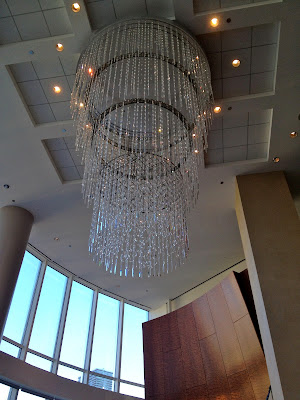 chandelier at Sixteen restaurant