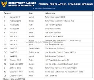 Uraian Jadwal Kalender Lengkap Hari Libur Nasional dan Cuti Bersama Tahun 2016 Berdasarkan SKB 3 Menteri