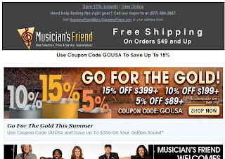 July 23, 2012 Musician's Friend email