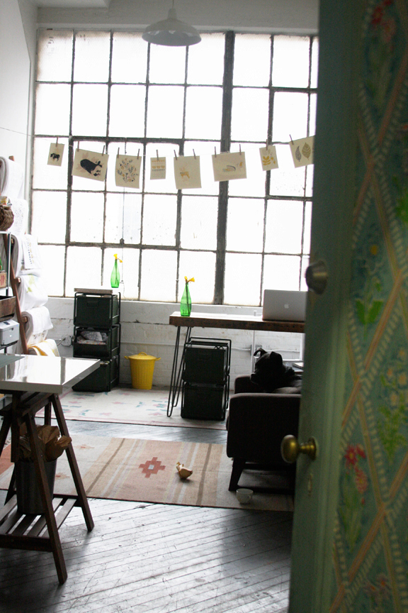 Leah Duncan's studio in an interview on the Shipshape Studio blog