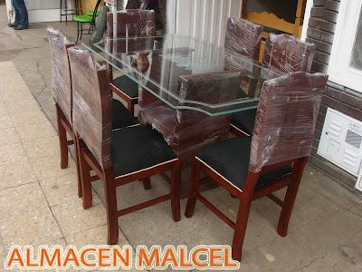 Muebles malcel comedores de 4 y 6 puestos en madera for Comedor 4 puestos vidrio