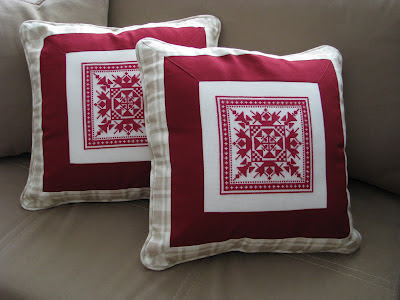 cross stitch  traditional village border patchwork pillow red beige square