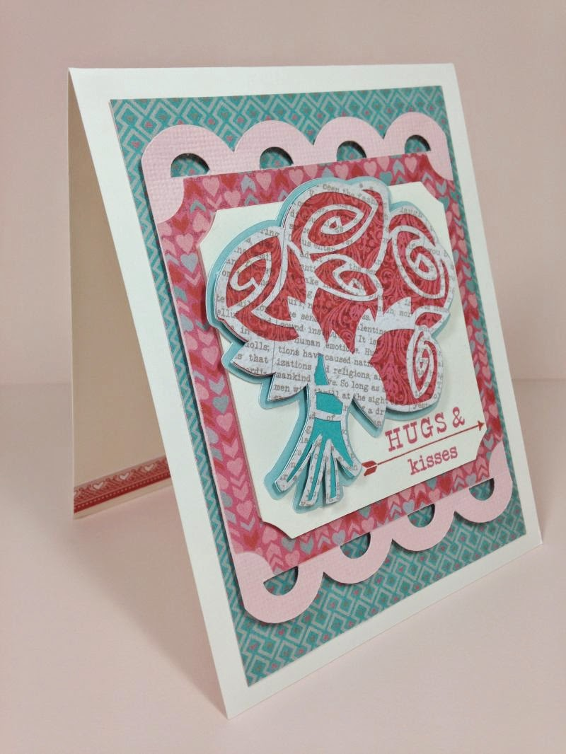 Cricut Hugs and Kisses card sideview