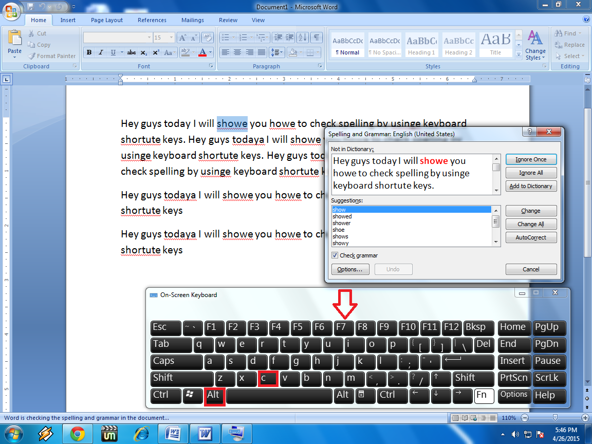 Shortcut key to Spell Check in MS Word