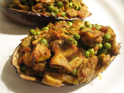 Baked Eggplant Stuffed with Curried Vegetables (Baingan ka Tikka)