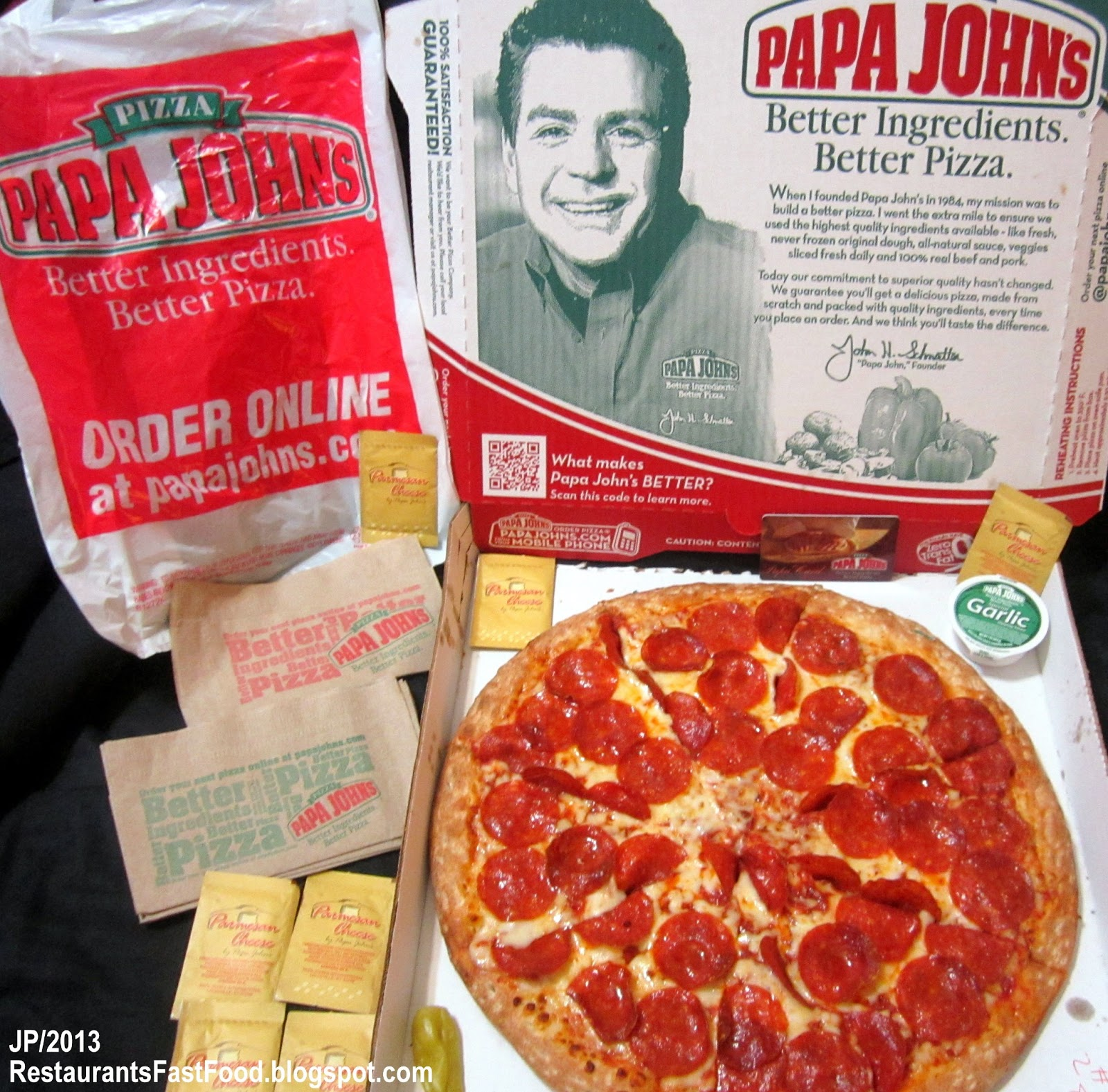Restaurant Fast Food Menu McDonald's DQ BK Hamburger Pizza ... Papa Johns Pizza Box Opened