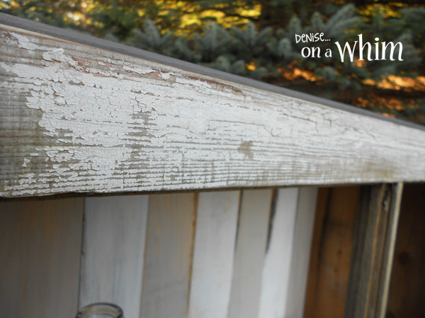A Chippy Window Frames Out the Front of a Rustic Cabinet | Denise on a Whim