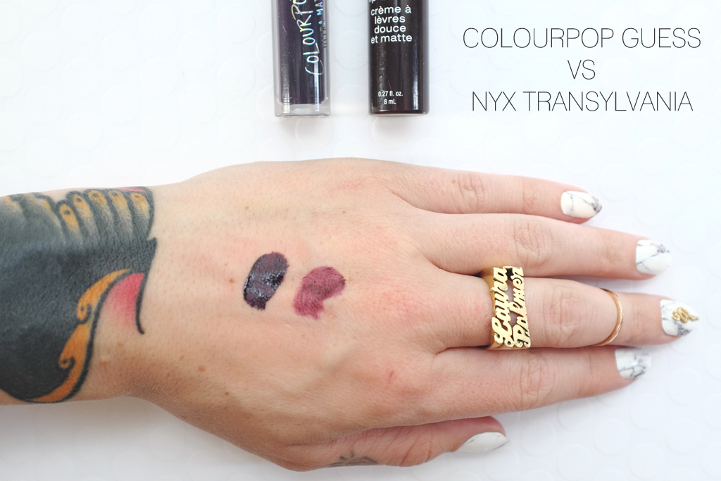 ColourPop Cosmetics Ultra Matte Guess versus NYX Transylvania - Mini Penny Blog