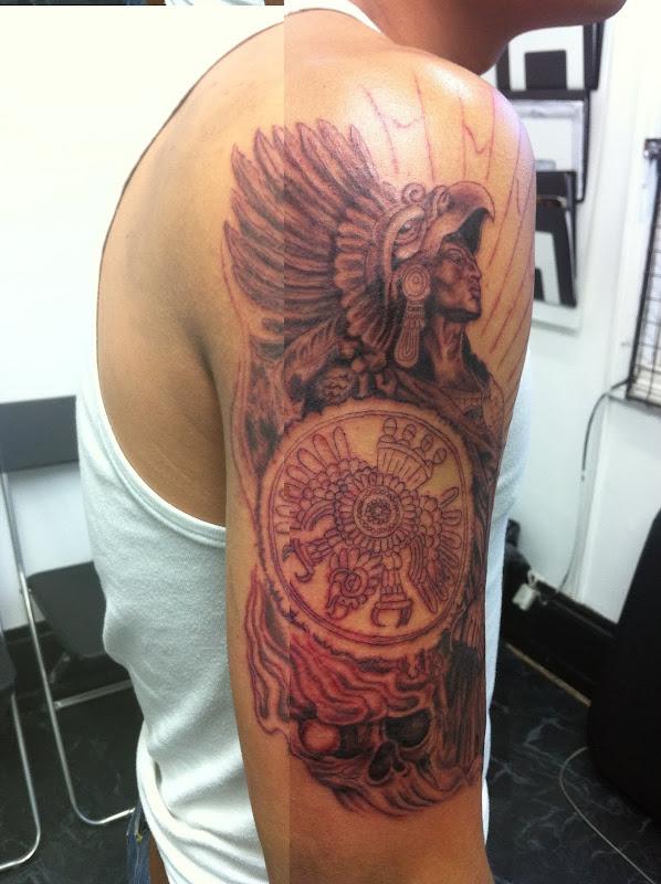 Aztec Warrior Tattoo title=