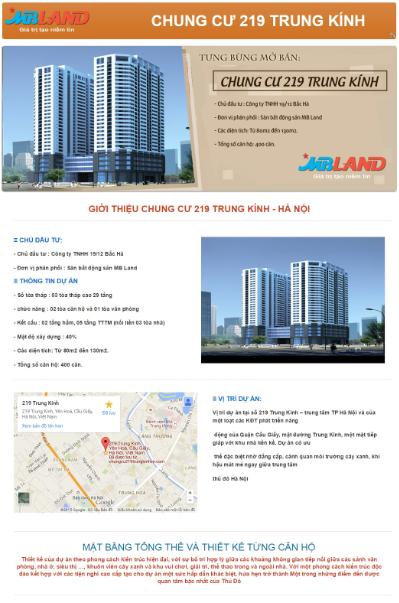 Chung cư 219 Trung Kính - Mẫu blogspot bất động sản đẹp và chuyên nghiệp