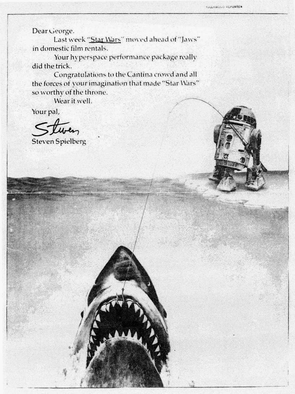 Creative congratulatory note from Steven Spielberg to George Lucas over Star Wars rentals success beating Jaws in the records