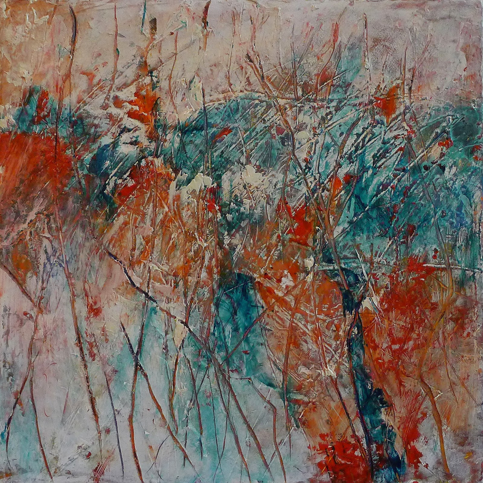 "Artist Kathy Elliott   http://kathyelliottart.blogspot.com  #oilandcoldwax # abstractart 8"" x 8"" Oil and Cold Wax, lines, aqua, reds and neutrals"