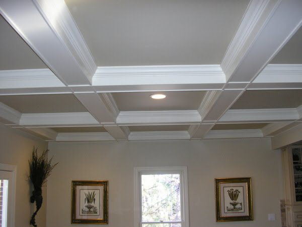 Our humble abode basement progress update for Coffered ceiling paint ideas