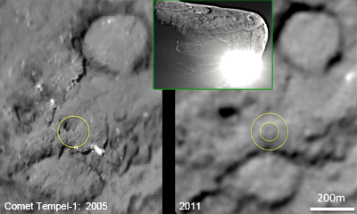 Comparison of site of impact of Deep Impact mission in 2005 and pictures of 2011 showing a 150m-wide man-made crater. NASA, 2011.