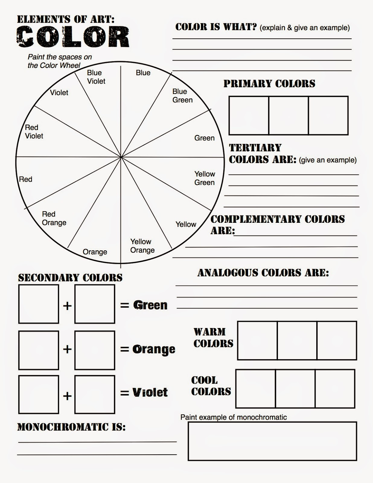 Color wheel worksheets for elementary - Art Room 170 Color Wheel Poster Due 111814 Grade 8 Sample Color Wheel Chart