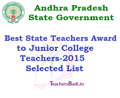Best State Teachers Award, Junior College Teachers-2015