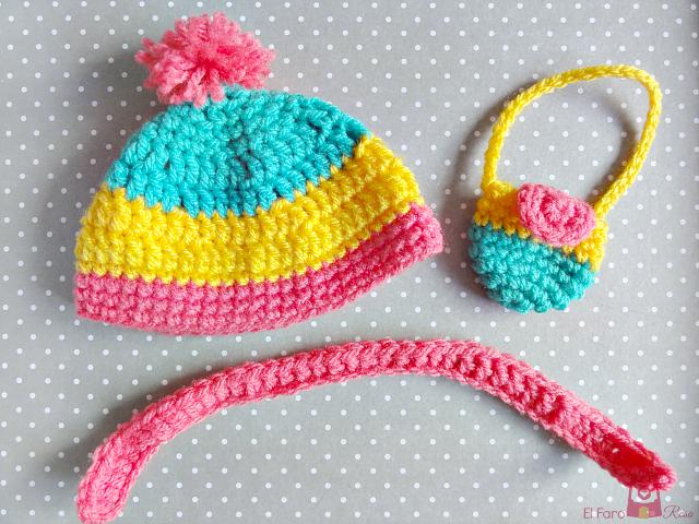 Gorro crochet, Bolso crochet