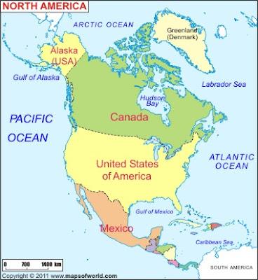 Carte Amérique Nord Departement Région