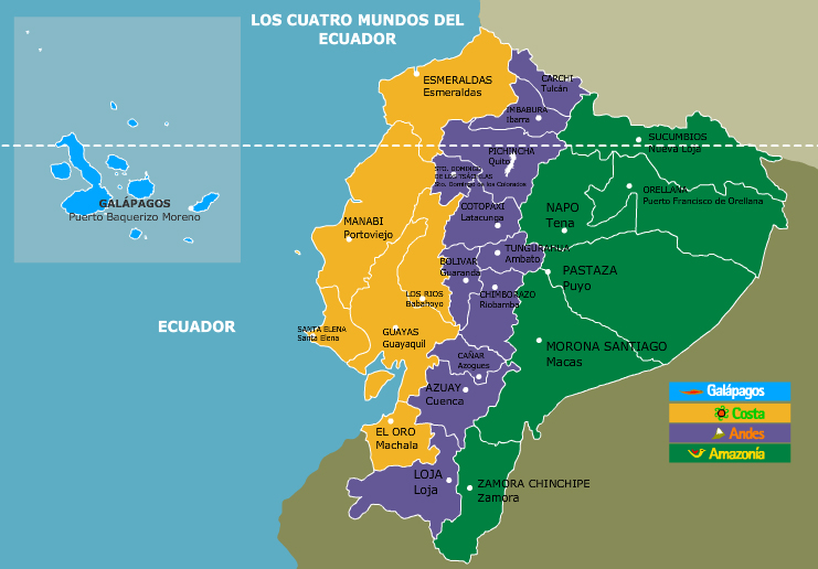 mapa del ecuador con sus regiones