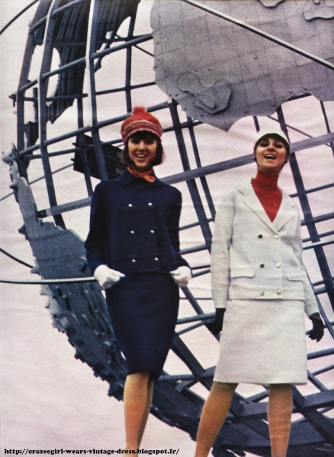 red white blue skirt suit 1964 1965 60s 1960 new york world 's fair exposition internationale New York fashion roucoul chez jeanmay rovalan intexa