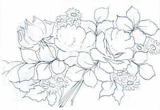 Risco de rosas para pintura em tecidos
