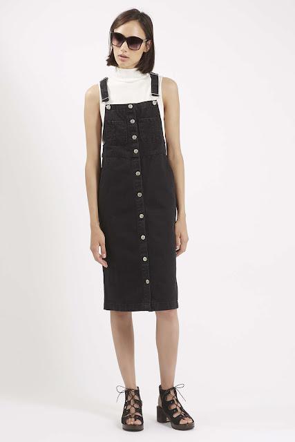 black denim pinafore, black midi pinafore, black pinafore dress,