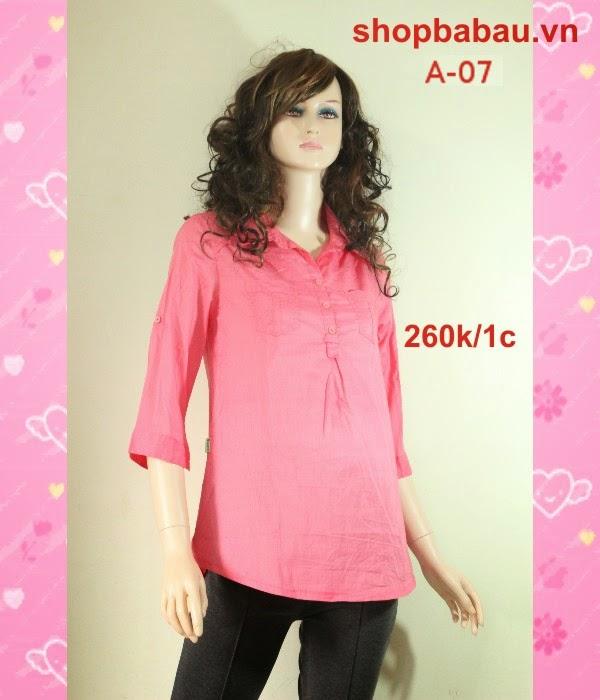 áo bà bầu màu hồng a-07
