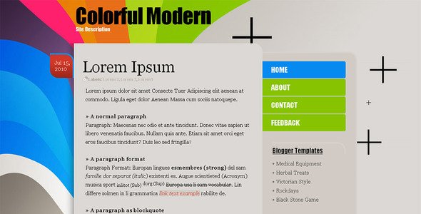 Colorful Modern Premium Blogger Template