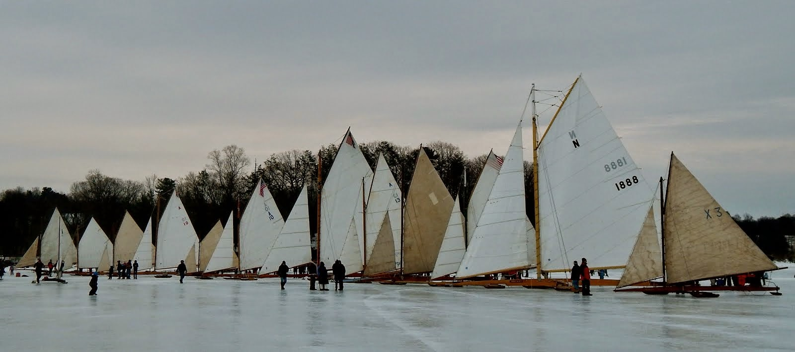 Line up of the iceboat fleet, off Rokeby, Barrytown-on-Hudson, NY, March 2014