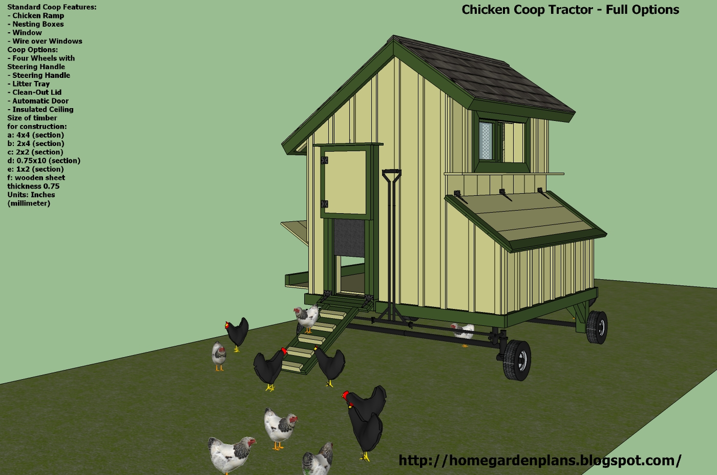 Home garden plans t200 chicken coop tractor plans for Plans chicken coop