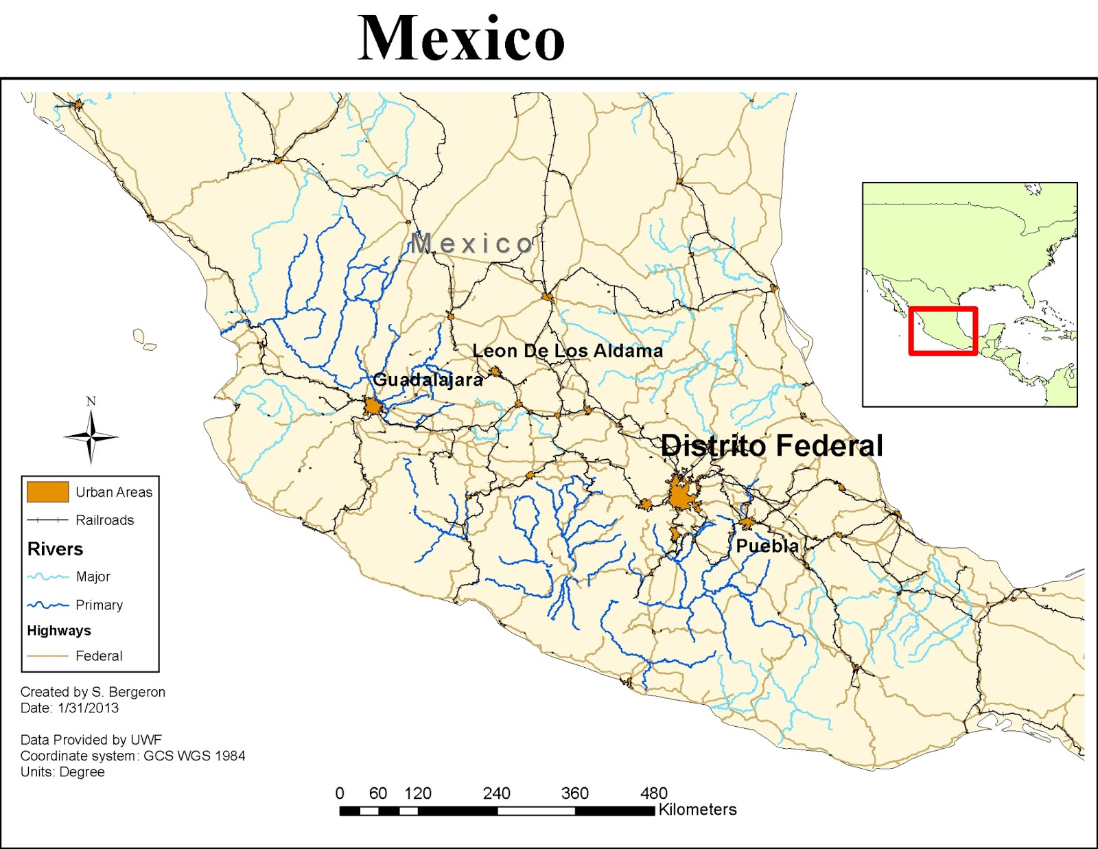 the second map is a map of mexico which focuses on its large cities cities with over one million people and the major transportation features around them