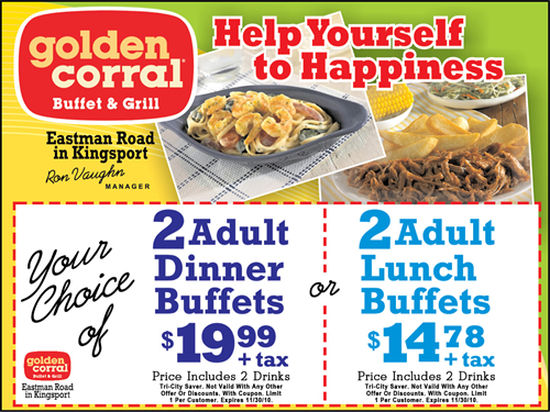 Find out about the latest online coupons, printable coupons and special offers from Golden Corral. CouponMom is updated everyday with the latest coupon codes and discounts so that you can save money online and even offline too via our printable coupons in a wide range of markets and retailers.