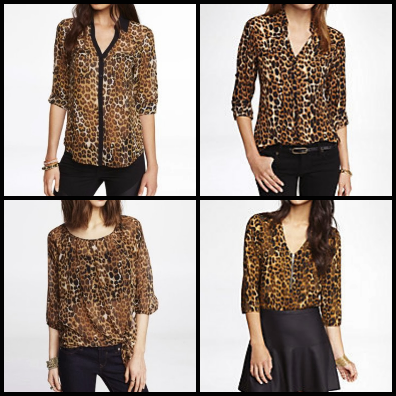 Express leopard print portofino blouse, peasant top, silky zip top