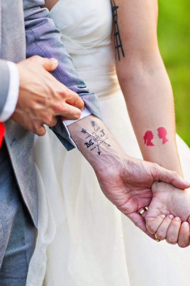 Love mark arrow tattoo for couple