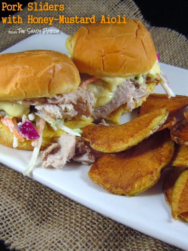 Pork Sliders topped with Honey-Mustard Aioli & Broccoli Coleslaw