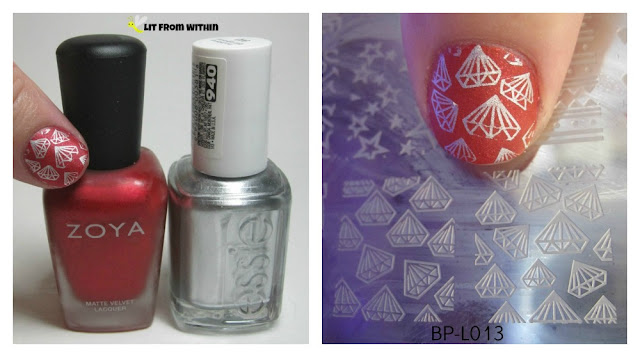 Here's what I used:  Zoya Amal, Essie No Place Like Chrome, and two stamps from BP-L013.