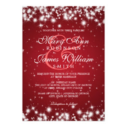 Elegant Red Winter Sparkle Wedding Card