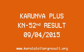 Karunya Plus KN 52 Lottery Result 9-4-2015