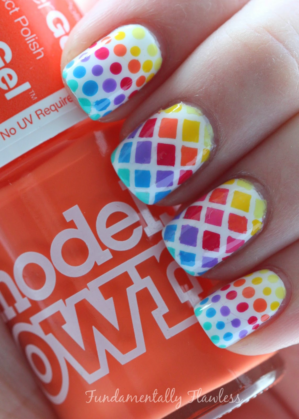 Models Own Summer Solstice Rainbow Diamonds and Dots Nail Art
