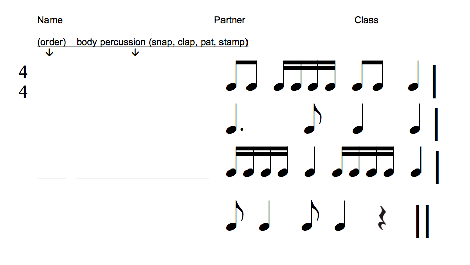 4th grade rhythm assessments exclusive music