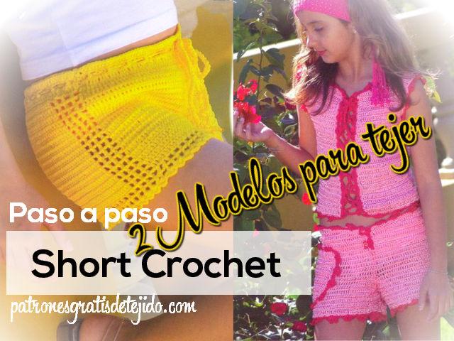 2 patrones y moldes de shorts para niñas paso a paso para tejer al crochet